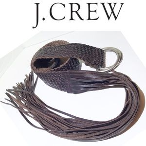 J CREW woven brown leather D-ring  boho fringe M/L